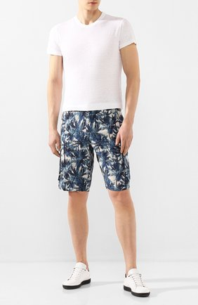 Мужские льняные шорты 120% LINO синего цвета, арт. R0M2426/F795/000 | Фото 2