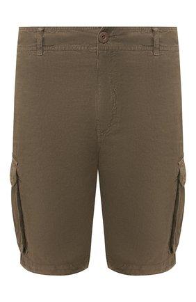 Мужские льняные шорты 120% LINO хаки цвета, арт. R0M2426/0253/000 | Фото 1