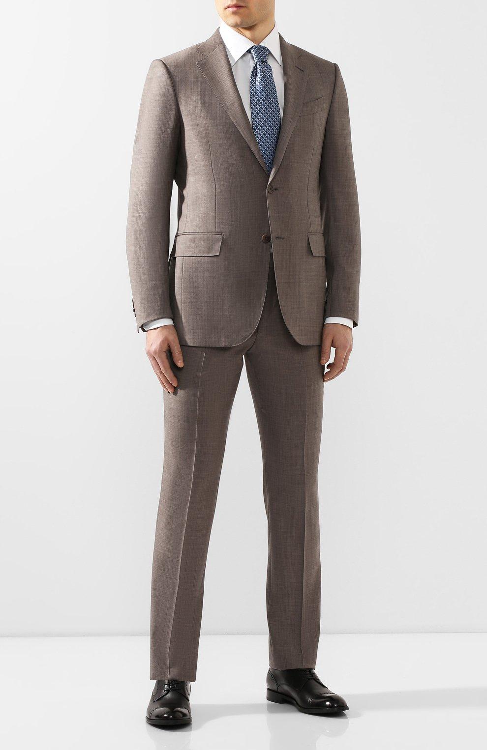 Мужской шерстяной костюм ERMENEGILDO ZEGNA темно-бежевого цвета, арт. 722037/221225 | Фото 1