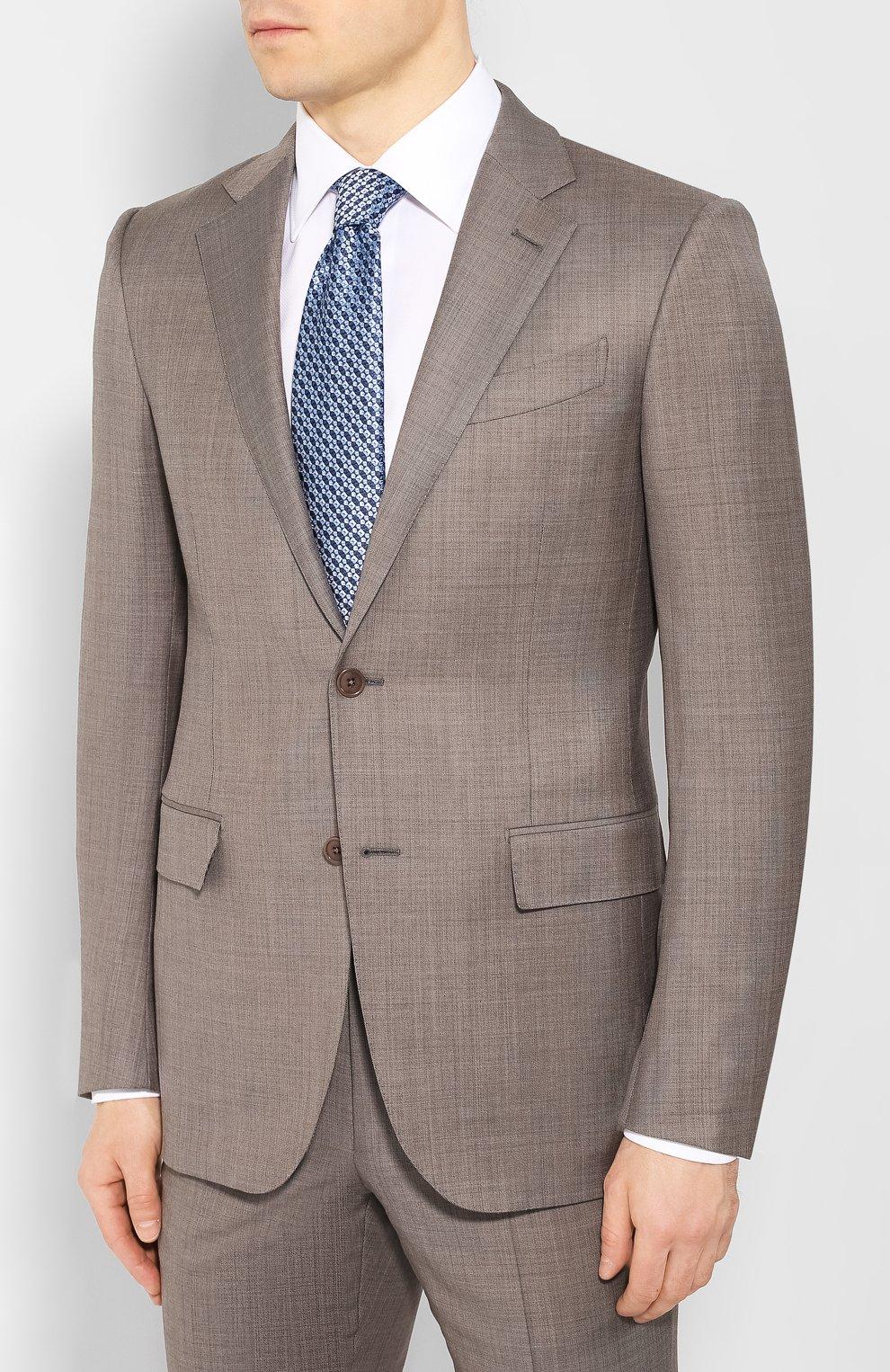 Мужской шерстяной костюм ERMENEGILDO ZEGNA темно-бежевого цвета, арт. 722037/221225 | Фото 2