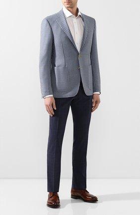 Мужской брюки из смеси шерсти и шелка MARCO PESCAROLO синего цвета, арт. SLIM80/4179 | Фото 2