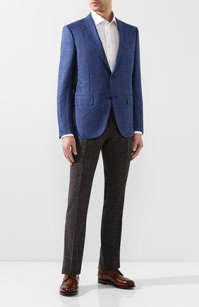 Мужской брюки из смеси шерсти и шелка MARCO PESCAROLO коричневого цвета, арт. SLIM80/4179 | Фото 2