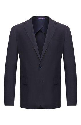 Мужской пиджак из шелка и льна RALPH LAUREN темно-синего цвета, арт. 798794546 | Фото 1