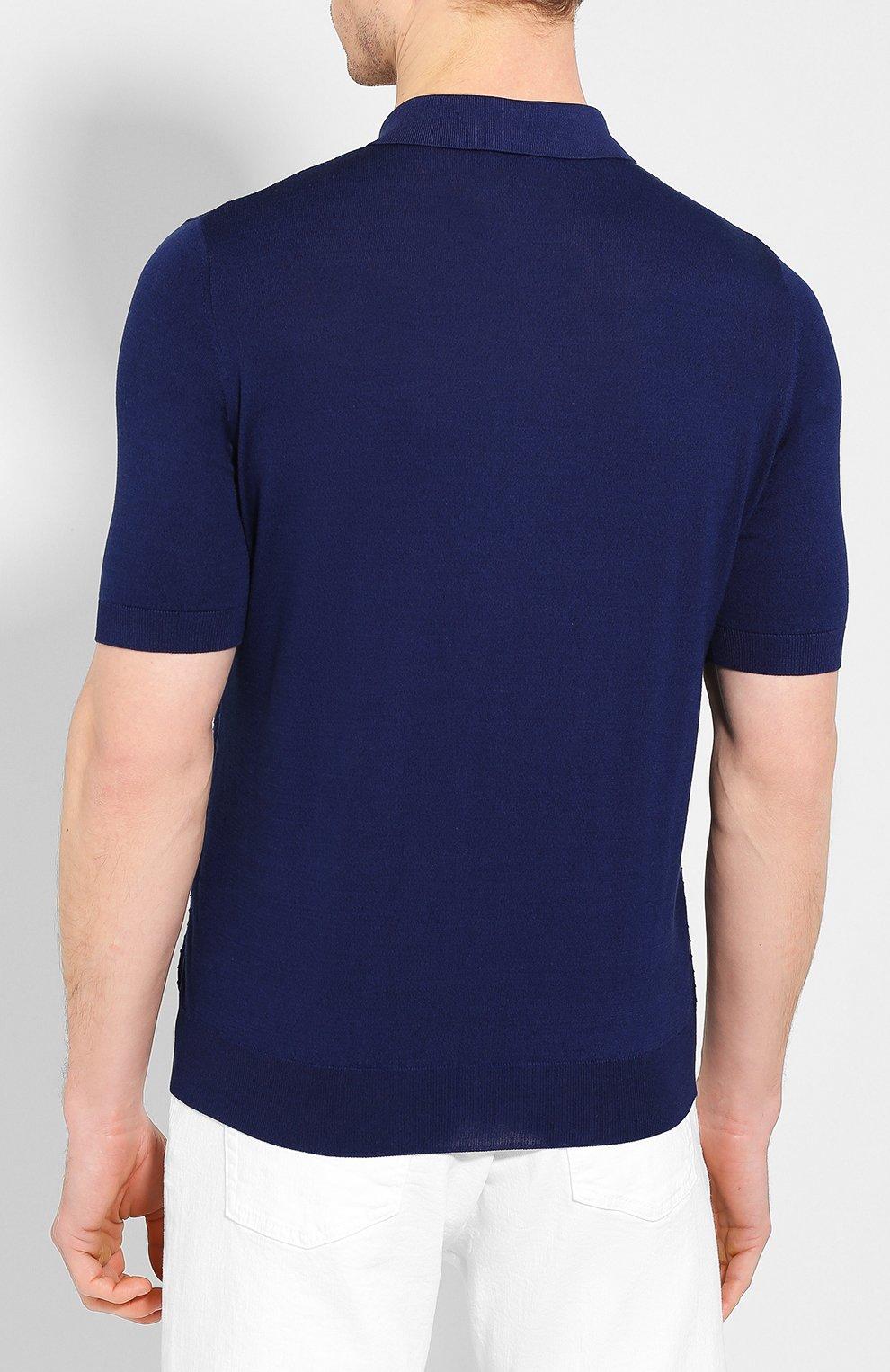 Мужское поло из смеси шелка и хлопка ZILLI темно-синего цвета, арт. MBT-PZ082-DEGR1/MC02 | Фото 4