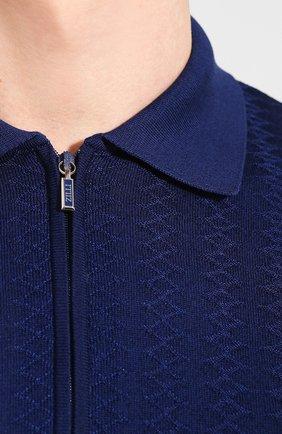 Мужское поло из смеси шелка и хлопка ZILLI темно-синего цвета, арт. MBT-PZ082-DEGR1/MC02 | Фото 5