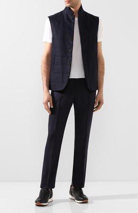 Мужские шелковые брюки ZILLI темно-синего цвета, арт. M0T-40-A-C6039/0001 | Фото 2 (Материал подклада: Купро; Материал внешний: Шелк; Длина (брюки, джинсы): Стандартные; Случай: Формальный; Стили: Классический)