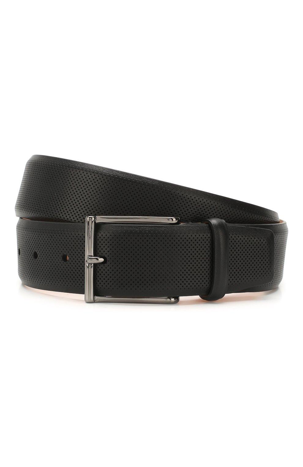 Мужской кожаный ремень SANTONI черного цвета, арт. CM40NS003AA4GVTPN01 | Фото 1