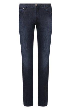 Мужские джинсы ANDREA CAMPAGNA темно-синего цвета, арт. AC302/T41.W207 | Фото 1 (Материал внешний: Хлопок; Длина (брюки, джинсы): Стандартные; Кросс-КТ: Деним; Детали: Потертости; Силуэт М (брюки): Прямые)