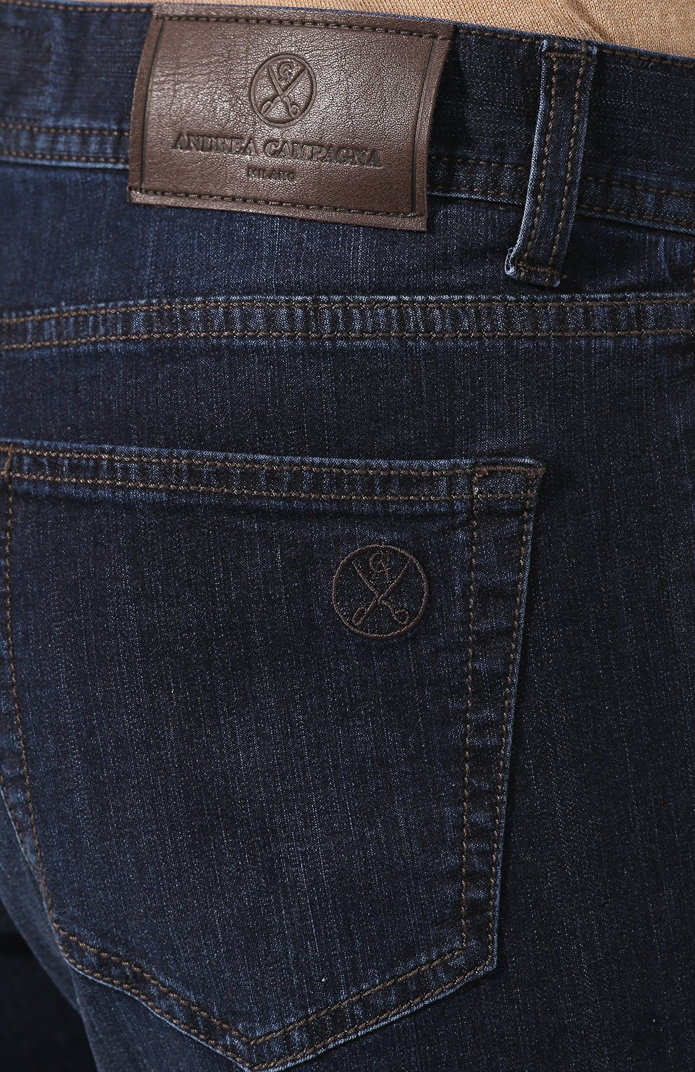Мужские джинсы ANDREA CAMPAGNA темно-синего цвета, арт. AC402/T42.W242 | Фото 5