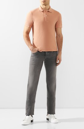 Мужское хлопковое поло TOM FORD персикового цвета, арт. BU266/TFJ982   Фото 2
