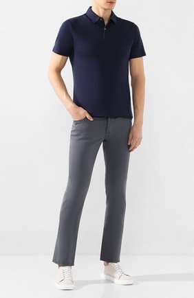 Мужской брюки из смеси хлопка и шелка JACOB COHEN темно-серого цвета, арт. J688 C0MF 01854-S/53   Фото 2