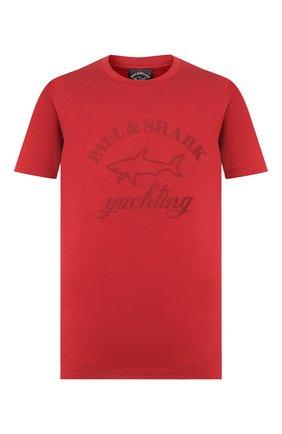 Мужская хлопковая футболка PAUL&SHARK бордового цвета, арт. C0P1007   Фото 1