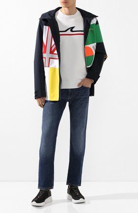 Мужской хлопковый свитер PAUL&SHARK белого цвета, арт. P20P1576 | Фото 2