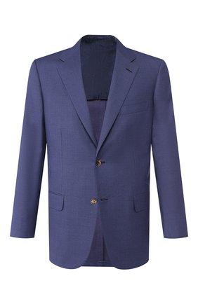 Мужской пиджак из смеси шерсти и шелка BRIONI темно-синего цвета, арт. RGH00U/P9A8F/PARLAMENT0 | Фото 1