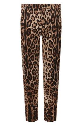 Мужской хлопковые брюки DOLCE & GABBANA коричневого цвета, арт. GY6FET/FSFAG | Фото 1