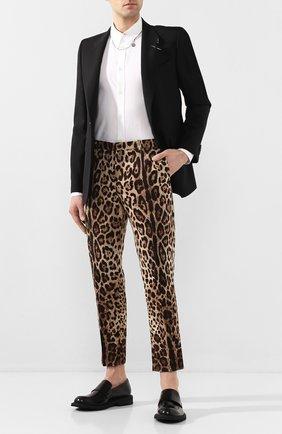 Мужской хлопковые брюки DOLCE & GABBANA коричневого цвета, арт. GY6FET/FSFAG | Фото 2