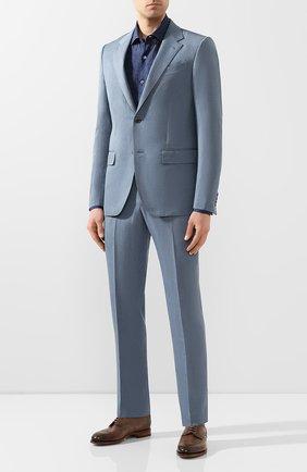Мужской костюм из смеси шерсти и льна ERMENEGILDO ZEGNA голубого цвета, арт. 776511/25M22Y | Фото 1