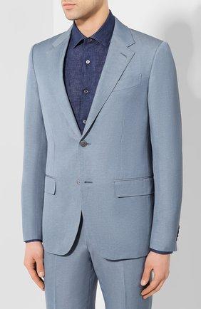 Мужской костюм из смеси шерсти и льна ERMENEGILDO ZEGNA голубого цвета, арт. 776511/25M22Y | Фото 2