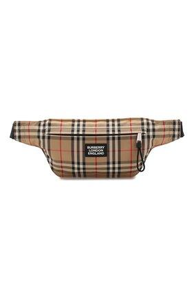 Мужская текстильная поясная сумка BURBERRY бежевого цвета, арт. 8027159 | Фото 1