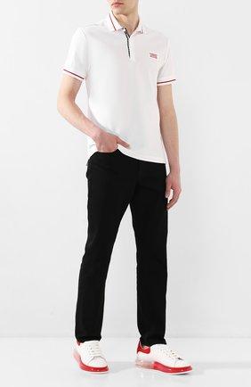 Мужское хлопковое поло BURBERRY белого цвета, арт. 8025973 | Фото 2