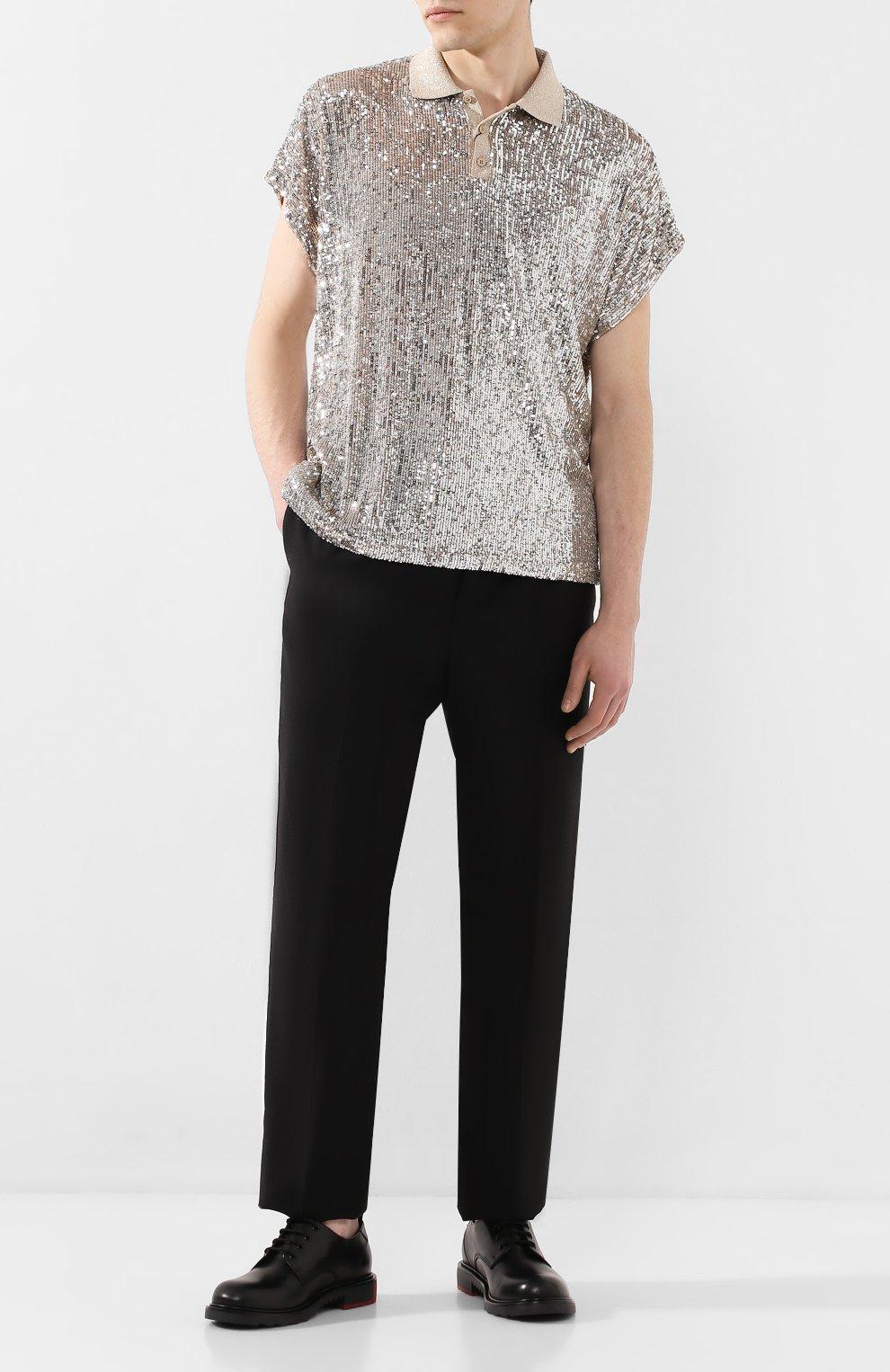 Мужское поло с пайетками SAINT LAURENT серебряного цвета, арт. 601538/YB0K2 | Фото 2