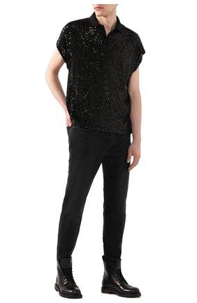 Мужское поло с пайетками SAINT LAURENT черного цвета, арт. 601538/YB0K2 | Фото 2