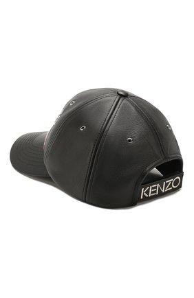 Мужской кожаная бейсболка KENZO черного цвета, арт. F955AC301L49 | Фото 2