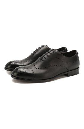 Мужские кожаные оксфорды ERMENEGILDO ZEGNA черного цвета, арт. A4385X-LHNAX | Фото 1