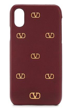 Мужской чехол valentino garavani для iphone x/xs VALENTINO бордового цвета, арт. TW2P0S87/DRT | Фото 1