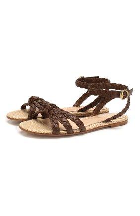 Женские кожаные сандалии bee GIANVITO ROSSI коричневого цвета, арт. G31719.05CU0.NGRTENT   Фото 1