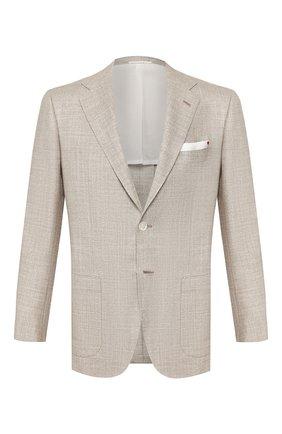 Мужской пиджак из смеси кашемира и шерсти KITON светло-бежевого цвета, арт. UG81K06S00 | Фото 1