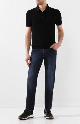 Мужское хлопковое поло CRUCIANI черного цвета, арт. CU25.403 | Фото 2