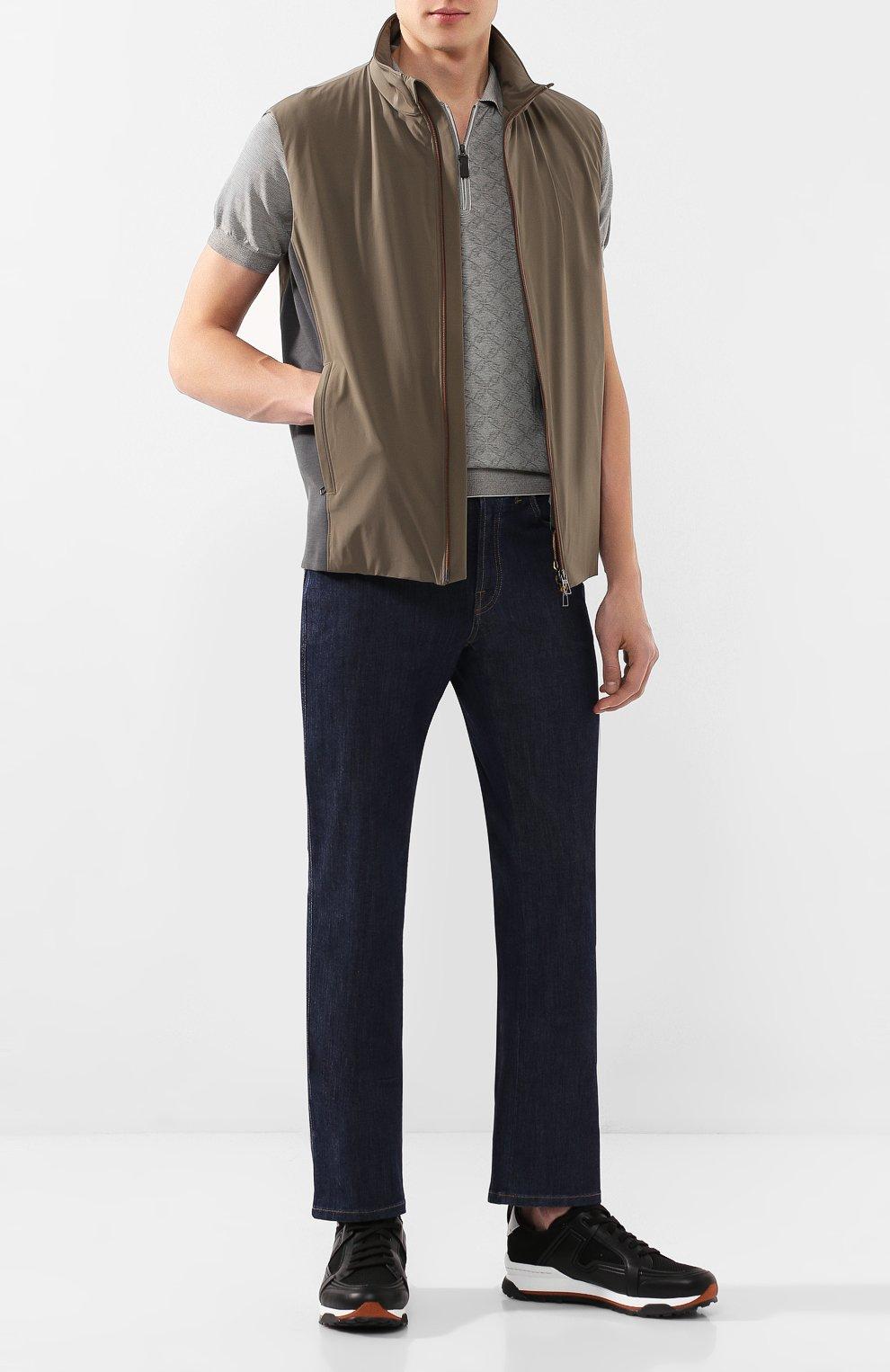 Мужские джинсы BRIONI темно-синего цвета, арт. SPNJ0L/P9D22/STELVI0 | Фото 2 (Силуэт М (брюки): Прямые; Кросс-КТ: Деним; Длина (брюки, джинсы): Стандартные; Материал внешний: Хлопок)