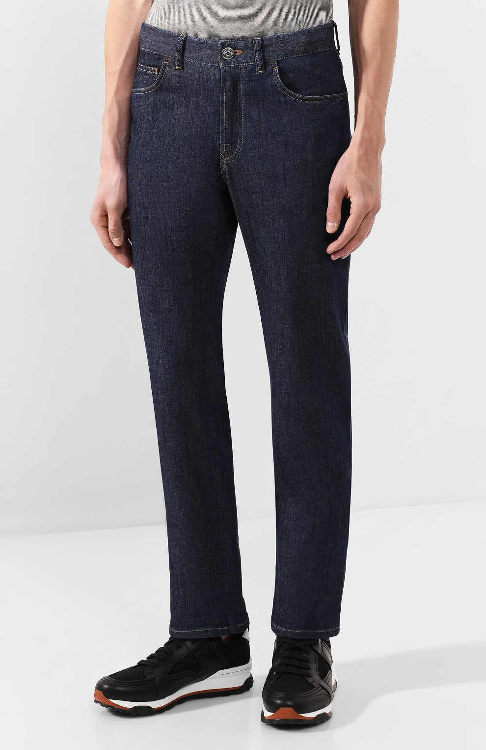 Мужские джинсы BRIONI темно-синего цвета, арт. SPNJ0L/P9D22/STELVI0 | Фото 3 (Силуэт М (брюки): Прямые; Кросс-КТ: Деним; Длина (брюки, джинсы): Стандартные; Материал внешний: Хлопок)