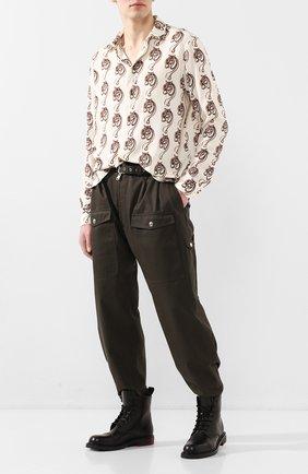 Мужская рубашка из вискозы TRIPLE RRR кремвого цвета, арт. SS20 S013 0032 | Фото 2