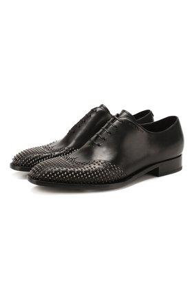 Мужские кожаные оксфорды GIVENCHY черного цвета, арт. BH1021H0LB | Фото 1 (Материал внутренний: Натуральная кожа; Стили: Классический)