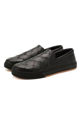 Мужские кожаные слипоны BOTTEGA VENETA черного цвета, арт. 608751/VT031 | Фото 1