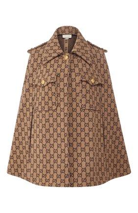 Женская шерстяное пончо GUCCI коричневого цвета, арт. 610488/XKA5U   Фото 1 (Материал внешний: Шерсть; Длина (верхняя одежда): Короткие; Статус проверки: Проверена категория; Стили: Гламурный)