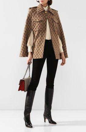 Женская шерстяное пончо GUCCI коричневого цвета, арт. 610488/XKA5U   Фото 2 (Материал внешний: Шерсть; Длина (верхняя одежда): Короткие; Статус проверки: Проверена категория; Стили: Гламурный)