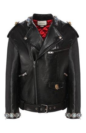 Женская кожаная куртка GUCCI черного цвета, арт. 609382/XNAI3 | Фото 1