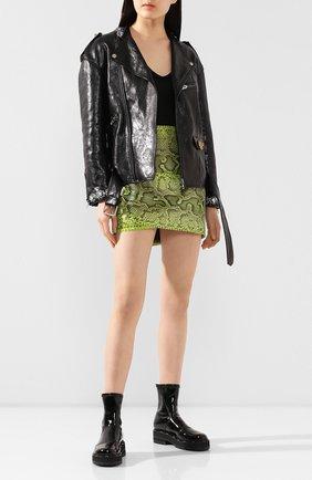 Женская кожаная куртка GUCCI черного цвета, арт. 609382/XNAI3 | Фото 2