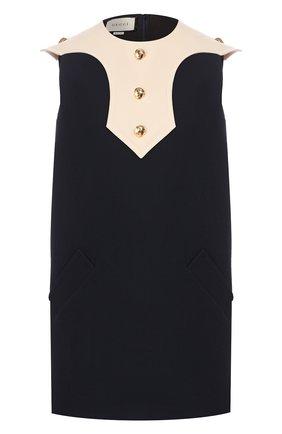 Женское платье из смеси шелка и шерсти GUCCI темно-синего цвета, арт. 597324/ZAD88 | Фото 1
