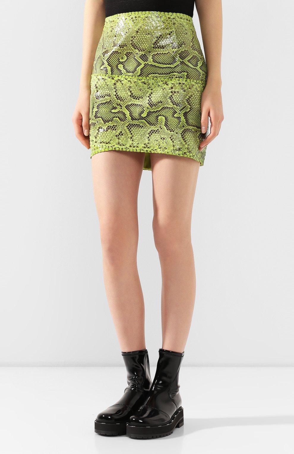 Женская юбка из кожи питона DOLCE & GABBANA зеленого цвета, арт. F4BWCL/HULI2/PBIV | Фото 3