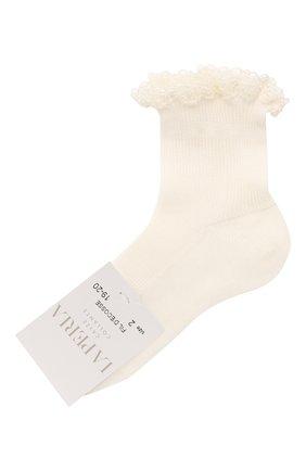 Детские хлопковые носки LA PERLA бежевого цвета, арт. 43455/17-22 | Фото 1
