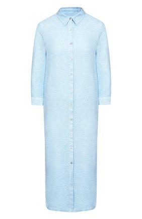 Женское льняное платье 120% LINO голубого цвета, арт. R0W4759/B317/S00 | Фото 1