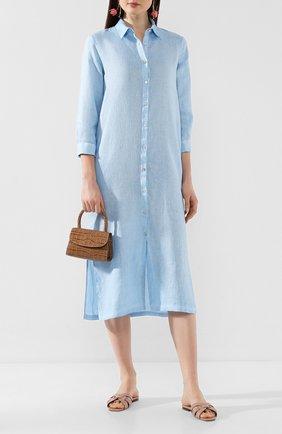 Женское льняное платье 120% LINO голубого цвета, арт. R0W4759/B317/S00 | Фото 2