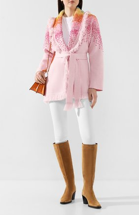 Женский кардиган из смеси шерсти и кашемира ALANUI розового цвета, арт. LWHB001R20003007 | Фото 2