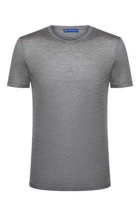 Мужская шелковая футболка ANDREA CAMPAGNA серого цвета, арт. 60133/78301 | Фото 1 (Мужское Кросс-КТ: Футболка-одежда; Рукава: Короткие; Принт: Без принта; Материал внешний: Шелк; Длина (для топов): Стандартные; Стили: Кэжуэл)