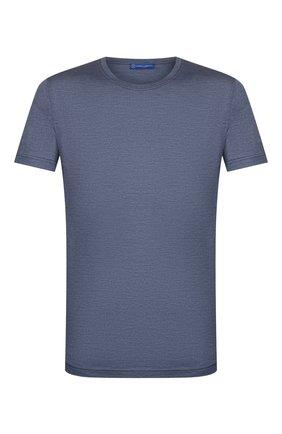 Мужская шелковая футболка ANDREA CAMPAGNA синего цвета, арт. 60133/78301 | Фото 1 (Мужское Кросс-КТ: Футболка-одежда; Рукава: Короткие; Принт: Без принта; Материал внешний: Шелк; Длина (для топов): Стандартные; Стили: Кэжуэл)