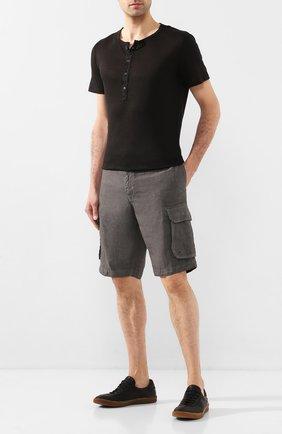Мужская льняная футболка 120% LINO черного цвета, арт. R0M7672/E908/S00 | Фото 2